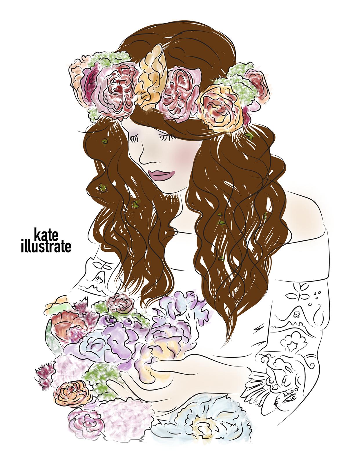 fashion-illustration-kateillustrate-flower-girl