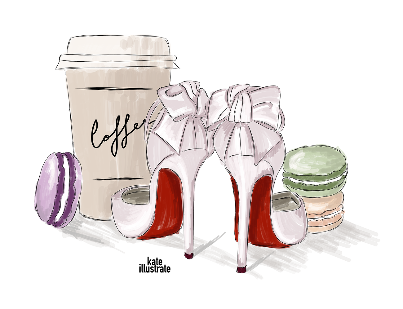fashion-illustration-kateillustrate-shoes-coffee-macarons