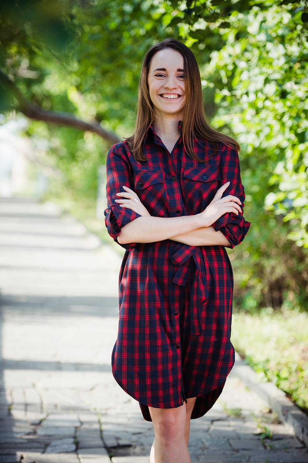 checkered dress kateillustrate for Tissen