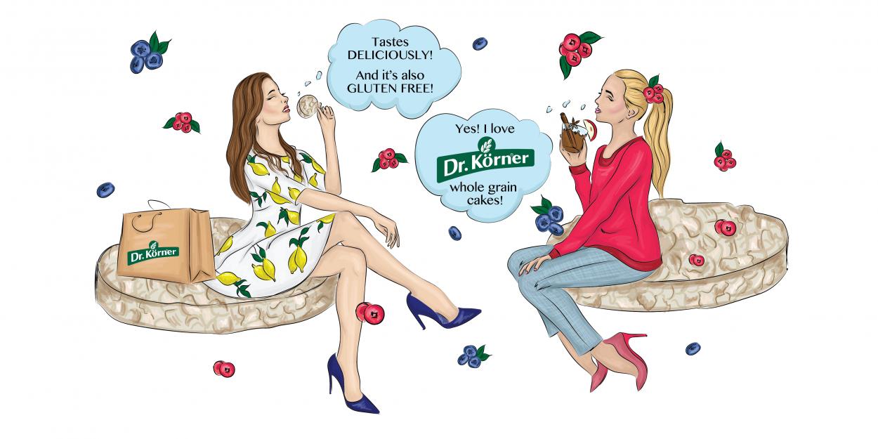 kateillustrate for Dr Korner girls talking illustration