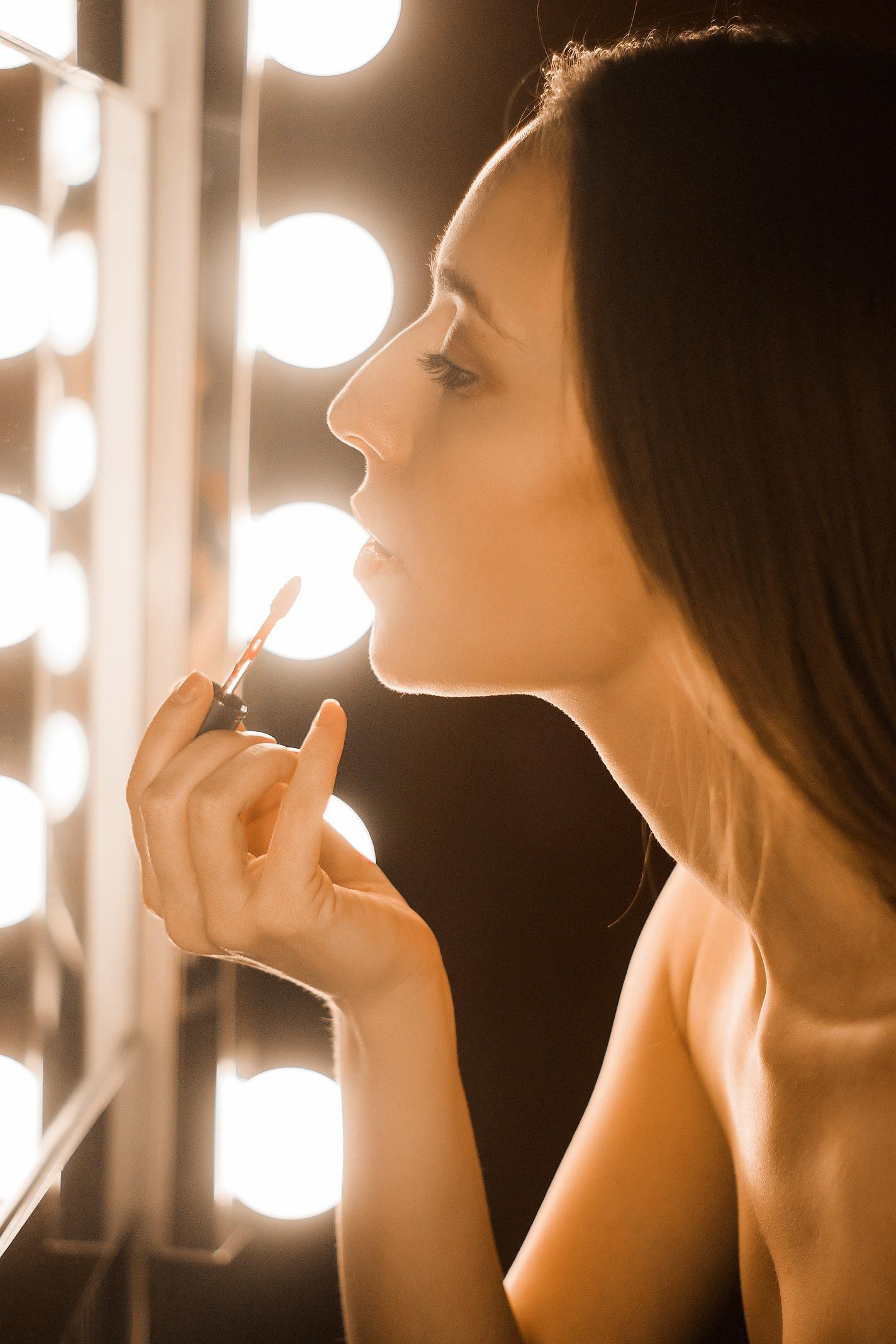 red lipstick makeup mirror